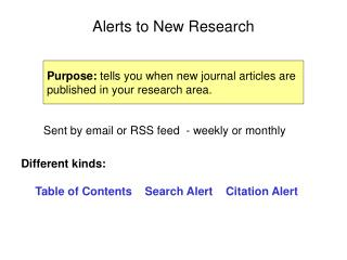 Alerts to New Research