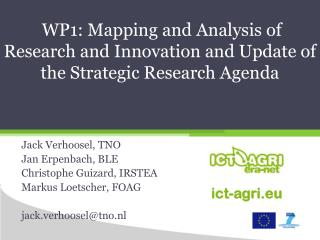 WP1: Mapping and Analysis of Research and Innovation and Update of the Strategic Research Agenda