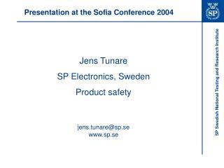 Presentation at the Sofia Conference 2004