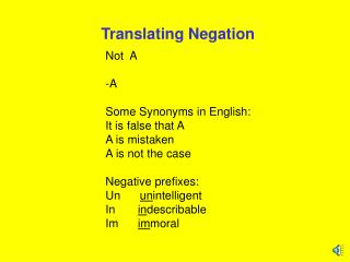 Translating Negation