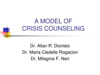 A MODEL OF CRISIS COUNSELING