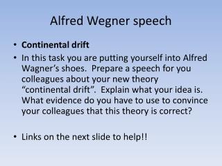Alfred Wegner speech