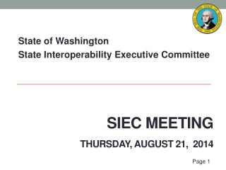 SIEC Meeting Thursday, August 21,   2014