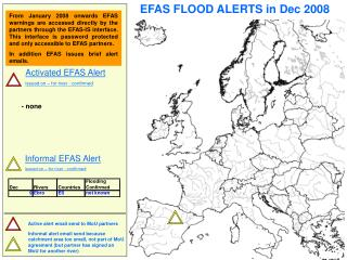 Activated EFAS Alert  issued on – for river - confirmed