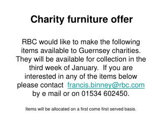 Charity furniture offer