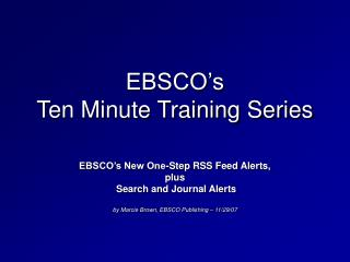 EBSCO's  Ten Minute Training Series