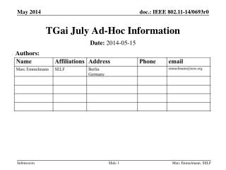 TGai  July Ad-Hoc Information