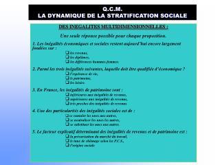 Q.C.M. LA DYNAMIQUE DE LA STRATIFICATION SOCIALE