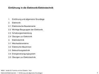 WWU - Institut f r Technik und ihre Didaktik - Hein Elektronik