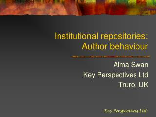 Institutional repositories:  Author behaviour