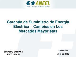 Garantía de Suministro de Energía Eléctrica – Cambios en Los Mercados Mayoristas