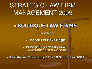 STRATEGIC LAW FIRM MANAGEMENT 2009