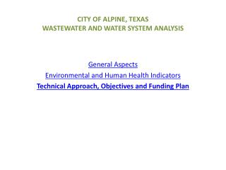 CITY OF ALPINE, TEXAS WASTEWATER AND WATER SYSTEM ANALYSIS