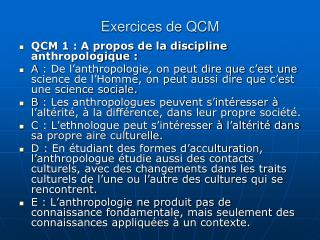 Exercices de QCM