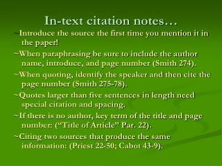 In-text citation notes…