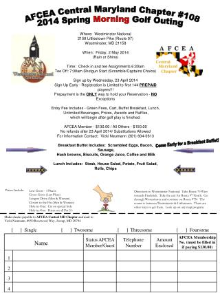 AFCEA Central Maryland Chapter #108 2014 Spring  Morning  Golf Outing