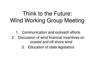 Think to the Future:  Wind Working Group Meeting