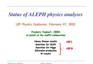 Status of ALEPH physics analyses