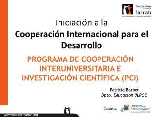 Iniciación a la Cooperación Internacional para el Desarrollo