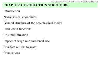 Introduction  Neo-classical economics General structure of the neo-classical model