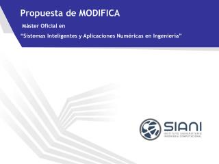 Propuesta de MODIFICA Máster Oficial en