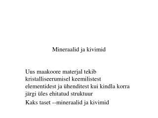 Mineraalid ja kivimid