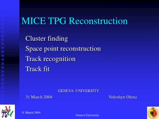 MICE TPG Reconstruction
