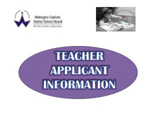 TEACHER APPLICANT INFORMATION