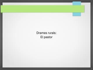 Drames rurals: El pastor
