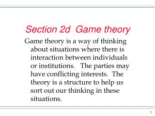 Section 2d  Game theory