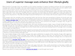 Users of premium massage chairs enhance their lifestyle happ