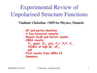 Experimental Review of Unpolarised Structure Functions