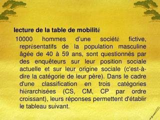 lecture de la table de mobilit é