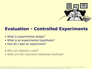 Evaluation - Controlled Experiments