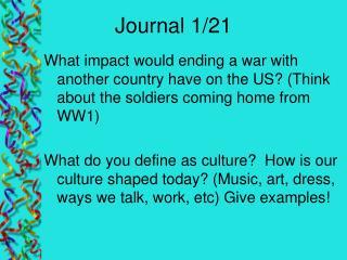 Journal 1/21