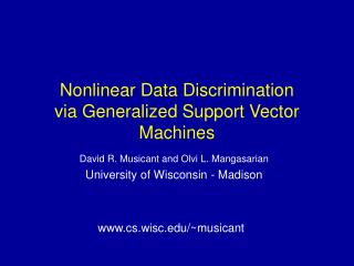 Nonlinear Data Discrimination via Generalized Support Vector Machines