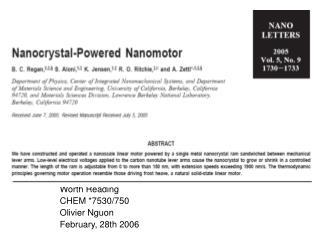 Worth Reading CHEM *7530/750 Olivier Nguon February, 28th 2006
