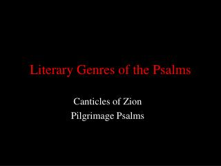Literary Genres of the Psalms