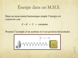 Énergie dans un M.H.S.