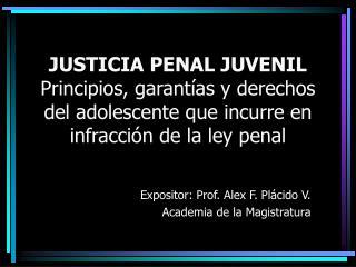 Expositor: Prof. Alex F. Plácido V. Academia de la Magistratura
