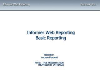 Informer Web Reporting Basic Reporting