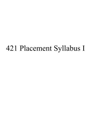 421 Placement Syllabus I