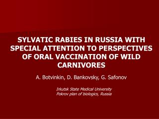 Animal rabies in Russia ( official statistic data)