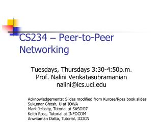 CS234  –  Peer-to-Peer Networking