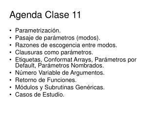 Agenda Clase 11
