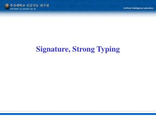 Signature, Strong Typing