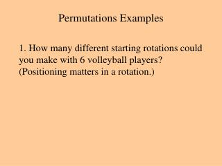 Permutations Examples