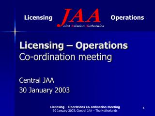 Licensing – Operations Co-ordination meeting