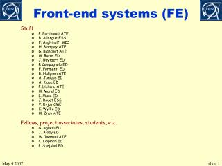 Front-end systems (FE)