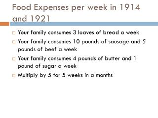 Food Expenses per week in 1914 and 1921